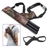 3 Tube Adjustable Back Waist Belt Bag Quiver Archery Bow Holder Hip Bag Case Bow