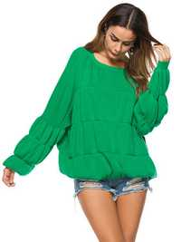 Plus Size Loose Women Lantern Sleeve Knit Sweater