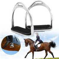120MM 1 Pair Aluminum Equestrian Horse Stirrups Riding Safety Stirrup Bendy Irons Light Weight