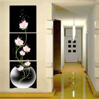 40x40cm Combination Canvas Print Painting 3Pcs Flowers Lotus Printed On Canvas Home Entryway Wall Decor