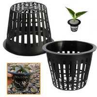 10pcs Black Plastic Hydroponic Planting Mesh Net Flower Pot Baskets Garden Plant Grow Cup