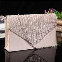 Women Evening Bridal Wallet Envelope Flash Diamond Clutch