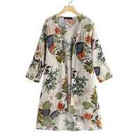 Women Long Sleeve Floral High Low Hem Cardigan