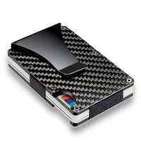 Slim Carbon Fiber Credit Card Holder RFID Blocking Metal Wallet Money Clip Case