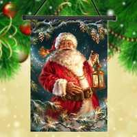 30x45cm Christmas Santa Claus Polyester Welcome Flag Garden Holiday Decoration