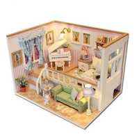 Hoomeda M026 DIY Wooden Dollhouse Because Of You Miniature Doll House LED Lights