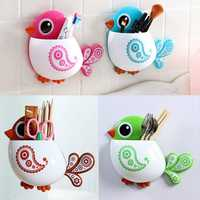 Honana Toothbrush Suction Cup Bird Pattern Holder Creative Exquisite Brush Holder Toothbrush Shelves 4 Color Bathroom Accessories Toothbrush Toothpaste Bath Storage Organizer Tool