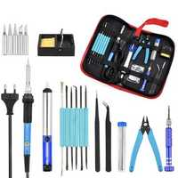 220V 60W Temperature Adjustable Soldering Iron Kit Desoldering Pump Wire Pliers Welding Tools