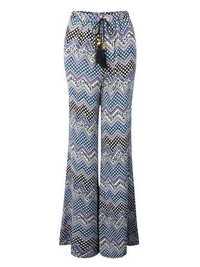 Casual Women Drawstring Printed Flare Wide Leg Bohemian Pants Trousers