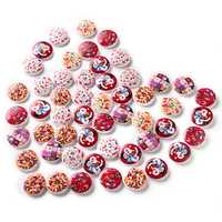 100 PCS Printed Round Pattern Wooden Button Mixed 2 Hole Natural Sewing Handmade Clothes Buttons