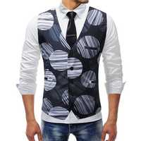 Mens Fashion Printing V Neck Slim Business Casual Vest