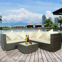 4 Pcs Big Beige Cushion Outdoor PE Rattan Wicker Patio Sofa Sectional Furniture Set Conversation Set