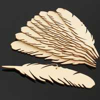 10pcs Laser Engraving MDF Feather Wooden Slices Diy Craft Laser Manufacturing Room Wedding Decorations For Birthday Party Kids Table Number Cards Gift Tags