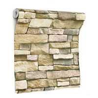 3D Wall Paper Brick Stone Pattern Sticker Rolls Self-adhesive Backdrop DIY Room Decor