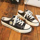 Prix de gros Women Daisy Decor Solid Color Lace Up Slip On Court Sneakers