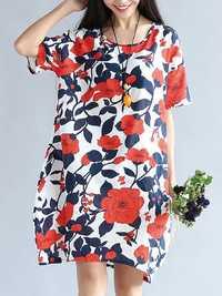 S-5XL Vintage Women Floral Printed Dress