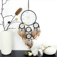 Hand Woven Natural Feathers Dreamcatcher Original American Pastoral Gifts Hanging Decor Ornament