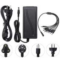 5.5x2.1mm DC 12V 6A Power Supply Adapter for CCTV Security Camera DVR + 8 Split Power Cable