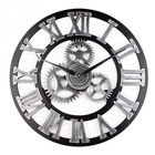 Acheter au meilleur prix Loskii 45cm Round Gear Wall Clock Roman Numerals Open Face Modern Creative Wall Clock