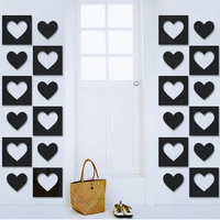 3D Square Heart Film DIY Shape Mirror Wall Stickers Home Wall Bedroom Office Decor
