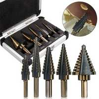 5pcs Hss Cobalt Step Drill Bit Set Multiple Hole 50 Sizes with Aluminum Case