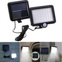 Solar Power 56 White LED PIR Motion Sensor Flood Wall Light Waterproof Outdoor Garden Security Lamp