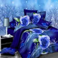 4pcs Suit Polyester Fiber 3D Blue Rose Flower Reactive Dyeing Bedding Sets Queen King Size