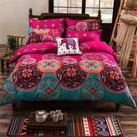 4Pcs Oriental Mandala Polyester Single Double Queen Size Bedding Pillowcases Quilt Duvet Cover Set