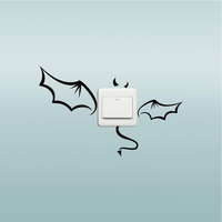 Honana Creative Devil Bat Switch Sticker Cartoon Bat Waterproof Vinyl Wall Decor Sticker Home Decor Wallpaper for Home Bedroom Background Removable Wall Switch Stickers