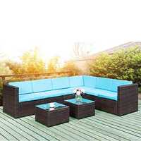 Folding Table TOPMAX 5-Piece Outdoor Furniture Sets Wicker Patio Sectional Sofa Garden Conversation Set with Two Tea Tables Blue Cushions Brown Wicker