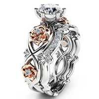 Zircon Inlaid Rose Gold Flower Heart Platinum Ring Set