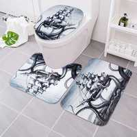 3Pcs Octopus Bathroom Rug Sailing Anti-slip Bath Carpet Toilet Seat Lid Rug Floor Mat