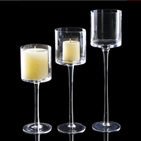 3Pcs Elegant Tea Light Glass Candle Holders Wedding Table Party Centerpiece