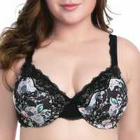 Plus Size Lace-trim Floral Full Busted Sexy Bra