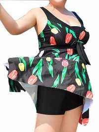 Sexy Bow Sleeveless Bodysuit Flower Print Wireless Bathing Suit Swimdresses