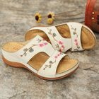 Discount pas cher LOSTISY Women Flower Embroidery Open Toe Casual Summer Wedge Sandals