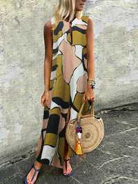 Plus Size Casual Art Print V-neck Sleeveless Maxi Dress
