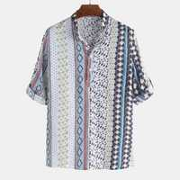 Mens Vintage Ethnic Style Printed Half Sleeve Loose T Shirts