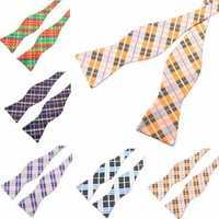 PenSee Men's Bow Ties Casual Lattice Paisley Jacquard Woven Silk Neckties Accessory