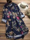 Wholesale Price Women Retro Buttons Long Sleeve Cotton Vintage Floral Blouse