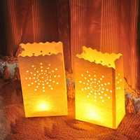 10PCS Sun Pattern Tea Light with Candle Paper Bag for Christmas Party Wedding Decoration
