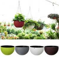 Gardening Rattan Waven Hanging Flower Chain Basket Pot Plant Holder Home Balcony Decorations