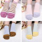 Meilleurs prix Ladies Five Toes Socks Cotton Striped 4-Pair Set Ankle Socks