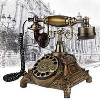 Vintage Landline Telephone Antique Retro Rotary Handset Desk Resin Telephone European Style Bronze Telephone