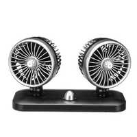 12V/24V Dual Head Car Fan Recreational Vehicle Cooling Fan Rotating Oscillating Dashboard Ventilation Air Cooler