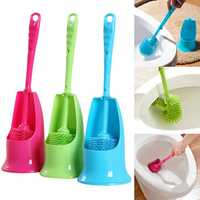 Cylinder Handle Toilet Brush & Base Plastic Cleaning Brush Long Double-sided Portable Bathroom Accessories Set