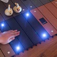 Wood Plastic Composite Flooring with Solar Light Outdoor Garden Balcony Interlocking Decking Tile