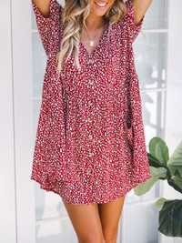Floral Printed Button Mini Dress