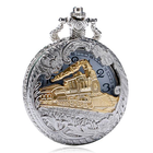 Cheap Discount DEFFRUN Fashion Train Carved Openable Hollow Steampunk Pocket Watch Charming Necklace Quartz Watch