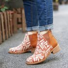 Meilleurs prix Women Folkways Printing Stitching Casual Block Heel Ankle Boots